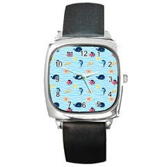 Fun Fish of the Ocean Square Leather Watch