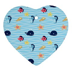 Fun Fish Of The Ocean Heart Ornament (two Sides)