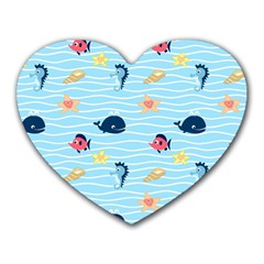 Fun Fish of the Ocean Mouse Pad (Heart)