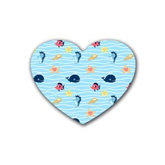 Fun Fish Of The Ocean Drink Coasters 4 Pack (heart)