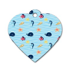 Fun Fish of the Ocean Dog Tag Heart (One Sided)