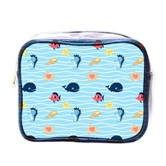 Fun Fish Of The Ocean Mini Travel Toiletry Bag (one Side)