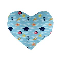 Fun Fish of the Ocean 16  Premium Heart Shape Cushion