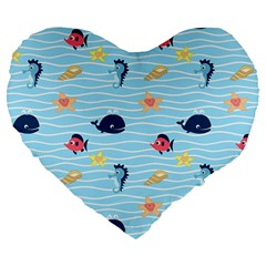 Fun Fish of the Ocean 19  Premium Heart Shape Cushion