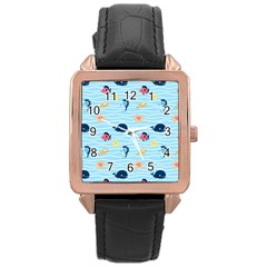 Fun Fish Of The Ocean Rose Gold Leather Watch
