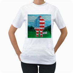 Painted Flag Big Foot Aust Women s Two Sided T Shirt (white)