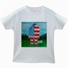 Painted Flag Big Foot Aust Kids T-shirt (White)
