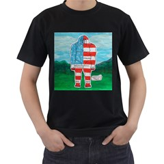 Painted Flag Big Foot Aust Men s Two Sided T-shirt (Black)
