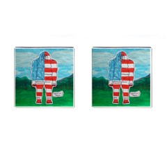 Painted Flag Big Foot Aust Cufflinks (Square)