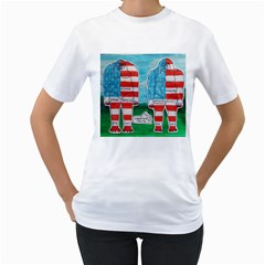2 Painted U,s,a,flag Big Foots Women s Two Sided T Shirt (white)