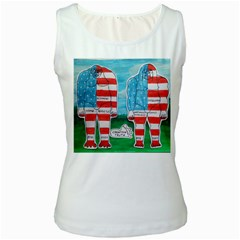 2 Painted U,s,a,flag Big Foots Women s Tank Top (White)