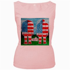 2 Painted U,s,a,flag Big Foots Women s Tank Top (Pink)