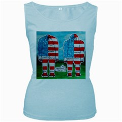 2 Painted U,s,a,flag Big Foots Women s Tank Top (Baby Blue)