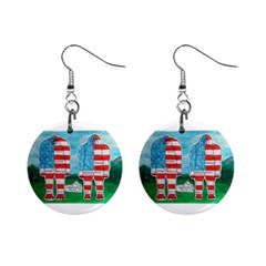 2 Painted U,s,a,flag Big Foots Mini Button Earrings