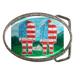 2 Painted U,s,a,flag Big Foots Belt Buckle (Oval)