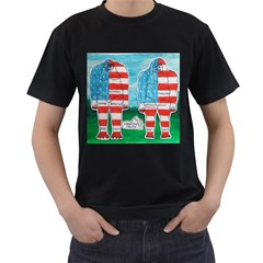 2 Painted U,s,a,flag Big Foots Men s Two Sided T-shirt (Black)