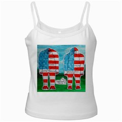 2 Painted U,s,a,flag Big Foots White Spaghetti Top