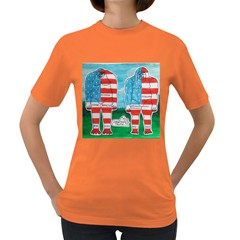 2 Painted U,s,a,flag Big Foots Women s T Shirt (colored)