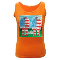 2 Painted U,s,a,flag Big Foots Women s Tank Top (Dark Colored)