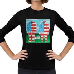 2 Painted U,s,a,flag Big Foots Women s Long Sleeve T-shirt (Dark Colored)