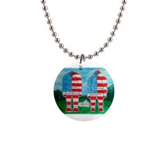 2 Painted U,s,a,flag Big Foots Button Necklace