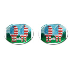 2 Painted U,s,a,flag Big Foots Cufflinks (Oval)