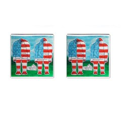 2 Painted U,s,a,flag Big Foots Cufflinks (Square)