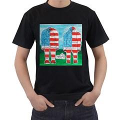 2 Painted U,s,a,flag Big Foots Men s T Shirt (black)