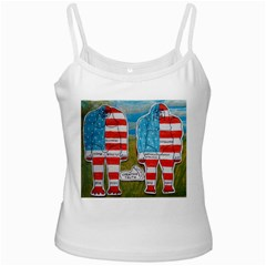 2 Painted Flag Big Foots Everglade White Spaghetti Tank