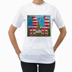 2 Painted Flag Big Foots Everglade Women s Two-sided T-shirt (White)