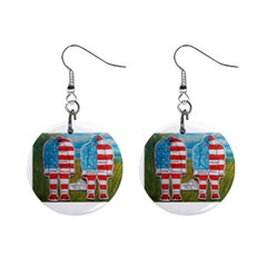 2 Painted Flag Big Foots Everglade Mini Button Earrings