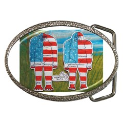2 Painted Flag Big Foots Everglade Belt Buckle (Oval)