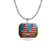 2 Painted Flag Big Foots Everglade Button Necklace