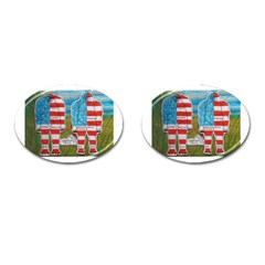 2 Painted Flag Big Foots Everglade Cufflinks (Oval)