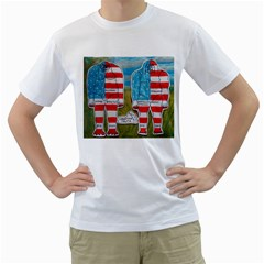 2 Painted Flag Big Foots Everglade Men s T-Shirt (White)