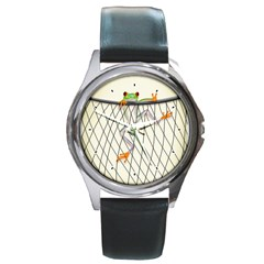 Peace Froggy Hanging On Backpack1 Round Leather Watch (silver Rim)