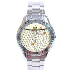 Peace Froggy Hanging On Backpack1 Stainless Steel Watch