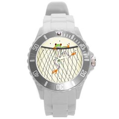 Peace Froggy Hanging On Backpack1 Plastic Sport Watch (Large)