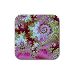 Raspberry Lime Delight, Abstract Ferris Wheel Rubber Coaster (Square)