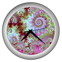 Raspberry Lime Delight, Abstract Ferris Wheel Wall Clock (Silver)