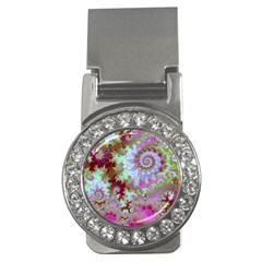 Raspberry Lime Delight, Abstract Ferris Wheel Money Clip (CZ)