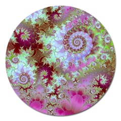 Raspberry Lime Delight, Abstract Ferris Wheel Magnet 5  (Round)