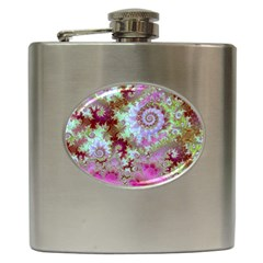 Raspberry Lime Delight, Abstract Ferris Wheel Hip Flask (6 oz)