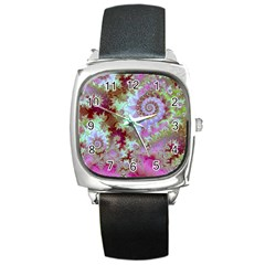 Raspberry Lime Delight, Abstract Ferris Wheel Square Metal Watch
