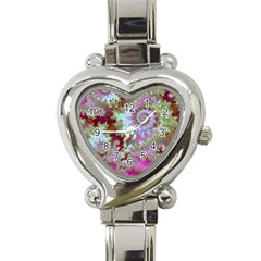 Raspberry Lime Delight, Abstract Ferris Wheel Heart Italian Charm Watch