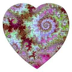 Raspberry Lime Delight, Abstract Ferris Wheel Jigsaw Puzzle (heart)