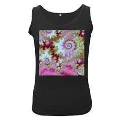 Raspberry Lime Delight, Abstract Ferris Wheel Women s Black Tank Top
