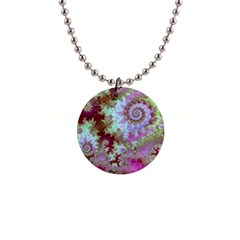 Raspberry Lime Delight, Abstract Ferris Wheel 1  Button Necklace