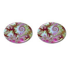 Raspberry Lime Delight, Abstract Ferris Wheel Cufflinks (Oval)