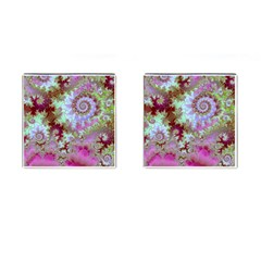 Raspberry Lime Delight, Abstract Ferris Wheel Cufflinks (Square)